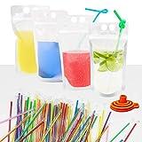IMISUTD 100 Pcs Drink Pouches with Straws, 500ML Juice Pouches bags with 100 Drink Straws, Double...