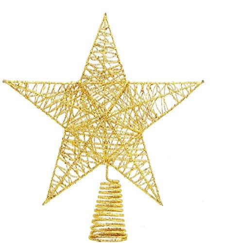 DIYASY Christmas Tree Topper,10inches Metal Glittered Star Xmas Tree Decoration Treetop for Xmas Home Decor