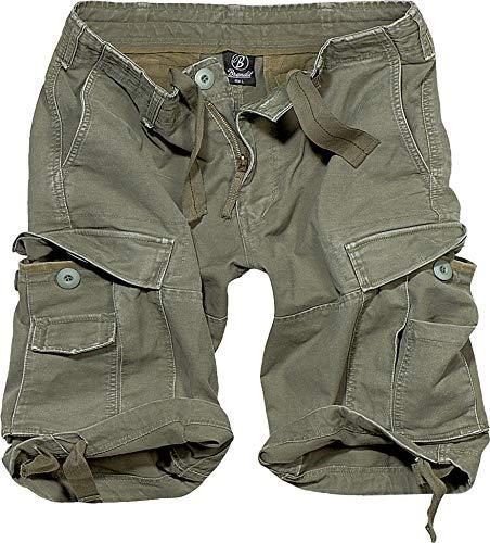 Brandit Vintage Shorts Basic Pantaloncini, Olive, L Uomo