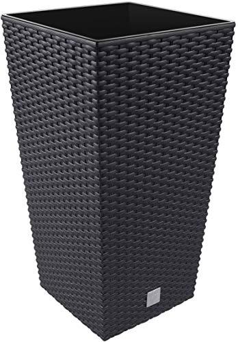 Maceta Alta Cuadrada 19 L Prosperplast Rato Square de plástico con depósito en Color Ocre Oscuro, 45 (Alto) x 24 (Ancho) x 24 (Profundo) cms