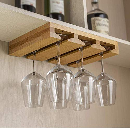 Kework Bamboo Wine Glass Holder, Hold Up to 6 Wine Glasses, Hanging Stemware Display Rack, Under Cabinet Mounted Wine Glass Drying Storage Hanger Organizer Rack (6-glass)