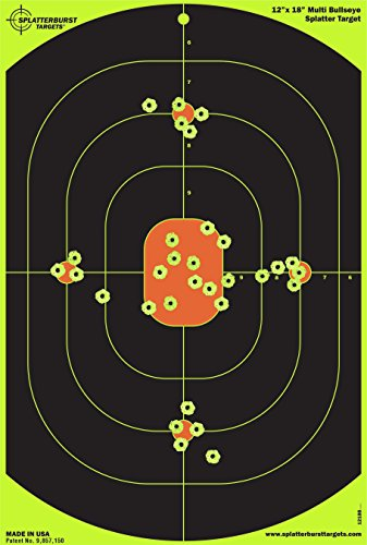 Splatterburst Targets - 12 x 18 inch Bullseye Reactive Shooting Target - Shots Burst Bright Fluorescent Yellow Upon Impact - Gun - Rifle - Pistol - Airsoft - BB Gun - Pellet Gun - Air Rifle (10 Pack)
