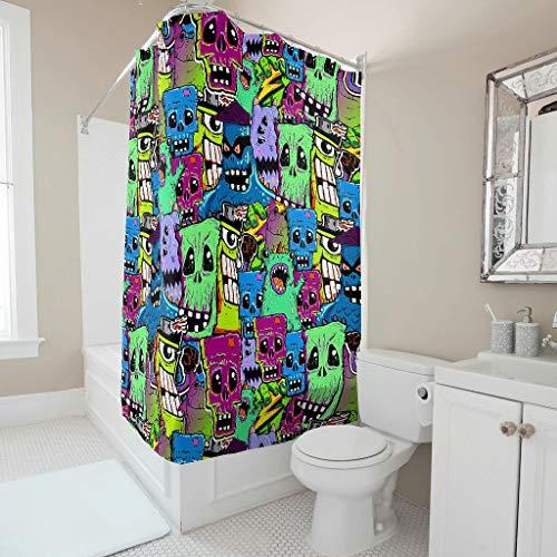 Dofeely Duschvorhänge Fun Monster Printed Anti-Schimmel Wasserdichtes Design Fascinating Shower Curtain 120x200cm Badewannenvorhang für Badezimmer
