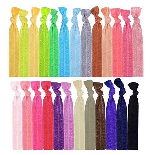 UEETEK Ruban élastique cheveux liens groupes de détenteurs de queue de cheval pour femmes filles cheveux accessoires 100pcs (couleur aléatoire)