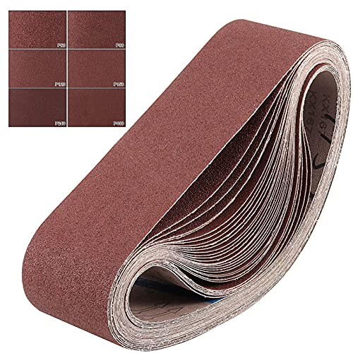 ZOENHOU24 PCS 4 x 36 Inch Sanding Belts, Aluminum Oxide Sanding Belt...