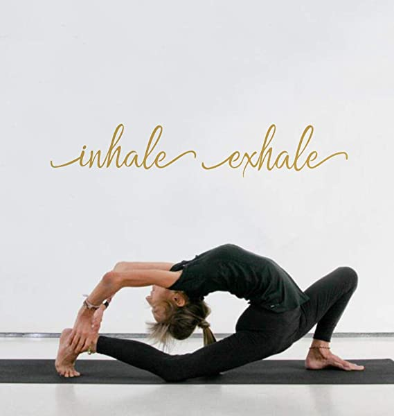 TOARTi Inhale Exhale Quote Wall Decal Modern Typography Vinyl Sticker Lettering Decals For Yoga Room Office Gym Home Decor Gold