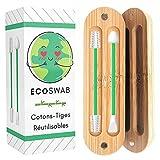 EcoSwab - Varilla de algodón reutilizable para las orejas, almohadillas lavables de silicona y caja de bambú orgánico, cero residuos, kit de 2 algas ecológicas para la oreja y maquillaje (verde)