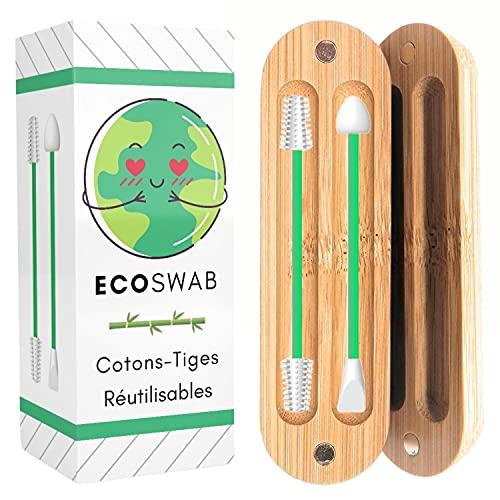 EcoSwab Coton Tige Réutilisable Pour Les Oreilles, Embouts Lavable en Silicone et Boite en Bambou Bio | Zéro Déchets, Kit de 2 Cotons Tiges Écologique | Cure Oreille et Maquillage Beauté (Vert)