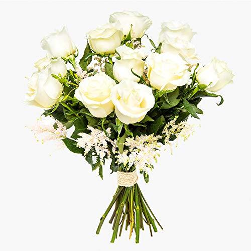 Ramos de rosas blancas naturales a domicilio Florencia - Flores frescas - Envío a domicilio 24h GRATIS - Tarjeta dedicatoria...