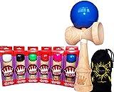 ROYAL Kendama (Pro BKA Competition Approved) japanische Fähigkeit Toy + Flames N Games Reisetasche. (Blau)