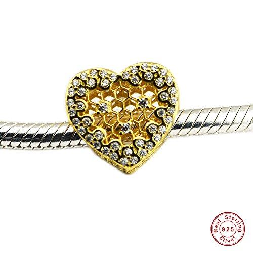 MOCCI 2018 Spring Honeycomb Lace Herz Charm Bead 925 Silber DIY passt für Original Pandora Armbänder Charm Modeschmuck