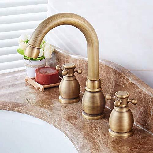 Sebasty Dreiloch-Waschtischarmatur Antik Kupfer Waschbecken Wasserhahn Voll Retro Grün Bronze Wasserhahn