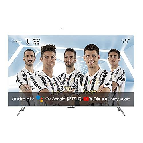 METZ Android 10.0 TV Serie MUC7000, LED Direct, UHD 3840x2160, 55  (139 cm), HDR10 HLG, HDMI, ARC, USB, Slot CI+, Dolby Digital, DVB-C T2 S2, HEVC MAIN10, Argento [Efficienza energetica classe F]