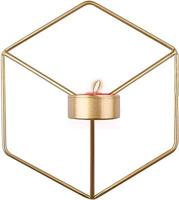 ウォールキャンドルホルダー、北欧スタイルの3D幾何学的なキャンドルスティックメタルウォールキャンドルホルダーホームデコレーションオーナメントホームアクセント装飾3Dキャンドルホルダー(ゴールド)