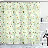 ABAKUHAUS Estrellas Cortina de Baño, Estrellas de Colores en Verde pálido, Material Resistente al Agua Durable Estampa Digital, 175 x 220 cm, Multicolor