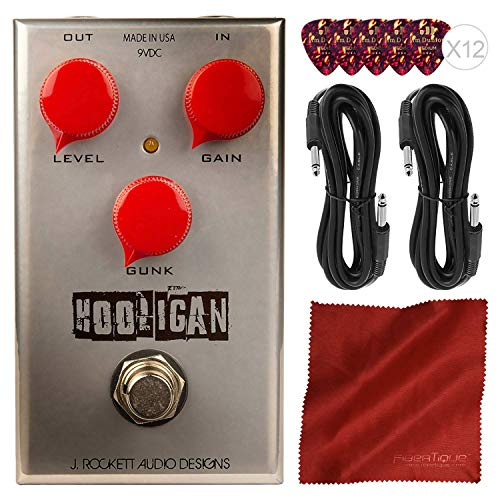 J. Rockett Audio Designs The Hooligan WTF Fuzz Guitar Effects Pedal + Basic Accessory Bundle