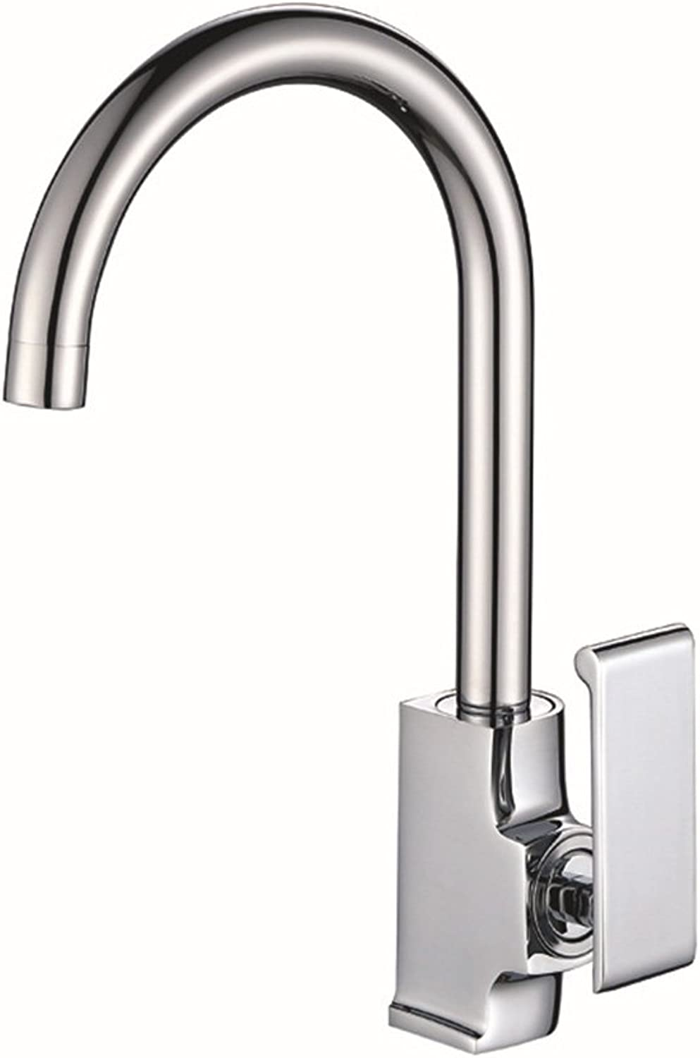 QJIAXING Home Kitchen Taps Mixer Full Copper Single Handle Hot And Cold Basin Sink Faucet,Chrome