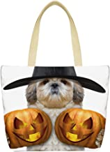 LEKODE Women Simple Shoulder Bag Ladies Crossbody Bag Halloween Travel Party Handbags(White C)