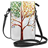 Jiger Women Small Cell Phone Purse Crossbody,Tree With Changing Seasons Effect On Its Crown Nature Ecology Foliage Theme