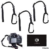 3X Atadura de la cámara con mosquetón – Doble asegure su cámara réflex o compacta – Primero conecte al ojete de la cámara – A continuación, conecte a la Correa de la cámara, trípode, monopie, etc.