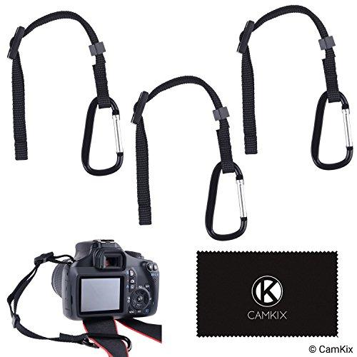 3X Kamera-Haltegurt mit Karabiner - Sichern Sie Ihre DSLR oder Kompaktkamera doppelt - Zuerst an der Kameraöse befestigen - Dann an Kameragurt, Stativ, Einbeinstativ etc. anschließen