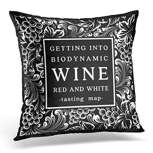 Funda de almohada decorativa con etiqueta de viñedo negra para botella de vino con ramo, uvas blancas, funda de almohada cuadrada para decoración del hogar, 45,7 x 45,7 cm