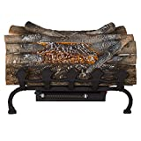 Pleasant Hearth L-20WGH Crackling w/Grate and Heater Electric Log, Natural Wood