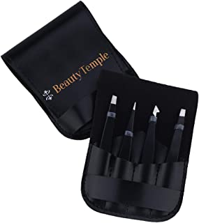 Beauty Temple Stainless Steel Tweezers Set 4 Piece, Hair Removal Slant Tip and Pointed Eyebrow Tweezer Set, Precision Eyeb...