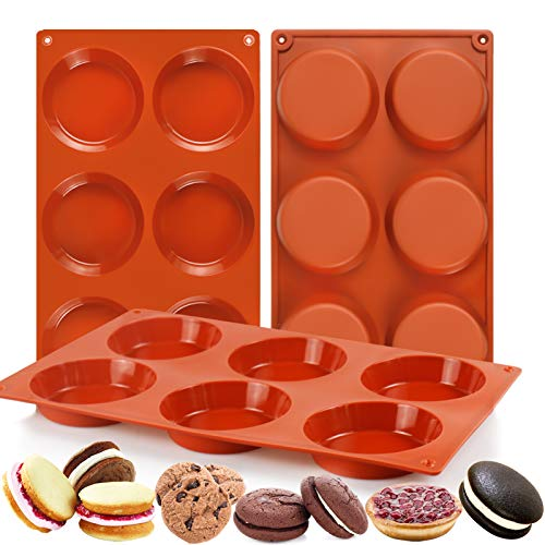 Palksky (3 PCS) 6-Cavity Silicone Whoopie Pie Baking Pan/Non-Stick 3' Round Muffin Top Pan/Mini Tart Pan for Egg Cloud Bread Buns English Muffins Breakfast Sandwiches Mold
