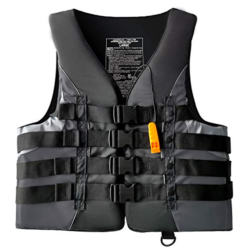 Leader Accessories Adult Universal USCG Approved Life Jacket Vest (Black, M)
