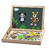 Uping Puzzles en Bois Magnétique 100 Pièces, Tableau Double Face Aimanté, Planche à Dessin Stylos Colorés Craies, Jouet Educatif Enfant 3 Ans Plus