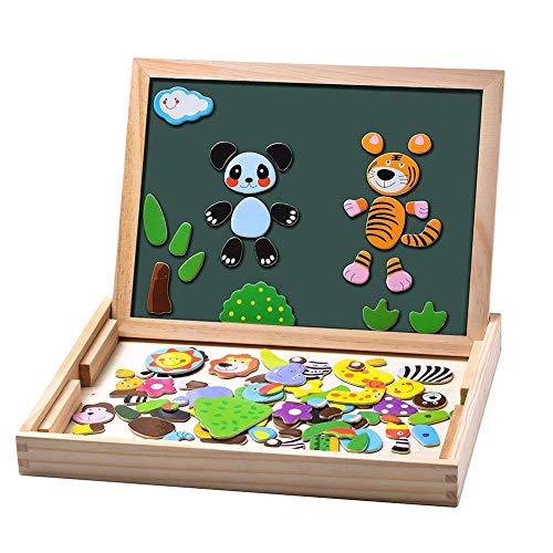 Uping magnetisches Holzpuzzle Staffelei doppelseitige Tafel Holzbrett Doodle 100 Stücke für ab 3 jahre Kinder Wald and Tier