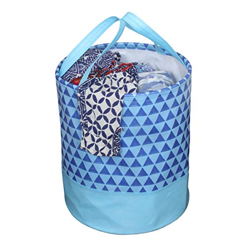 PrettyKrafts Laundry Bag for clothes, Collapsible Laundry storage, Toys Storage, (45 L) (Blue Trio)