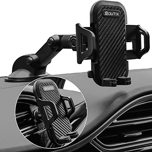 Moutik Universal Car Phone Mount: Dashboard Windshield Air Vent Phone Holder for Car, Suction Phone Car Stand For iPhone 12/12 Pro/11 Pro Max/8 Plus/8/X/XR/XS/SE Samsung Galaxy S20/S20+/S10/S9/Note 20