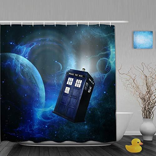 SUHOM Duschvorhang,Doctor Who Thema des Filmraumkunstdrucks,personalisierte Deko Badezimmer Vorhang,mit Haken,180 * 210