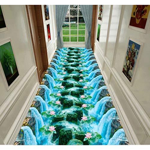 Tapijtloper 3D waterval, stromend waterpatroon, loper, tapijt, DIY Corridors Runner tapijt, gebruikergedefinieerde grootte, lange hal ingang, glijden, wasbare deurmat, wasmachine, formele S