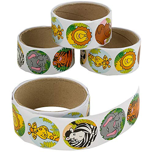 Kicko Zoo Animal Sticker Roll for Kids - 4 Rolls - 400 Assorted Stickers - Party Favors, Game Prizes, Novelty Toys, Wall Decals, Creative Scrapbooks, Personalized Arts and Crafts