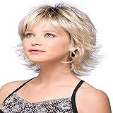 Fleurapance - Pelucas de pelo humano para mujer, cortas y muy naturales, estilo Bobo, rubio dorado, resistente al calor, rizos rizados, ondulados, sintéticas