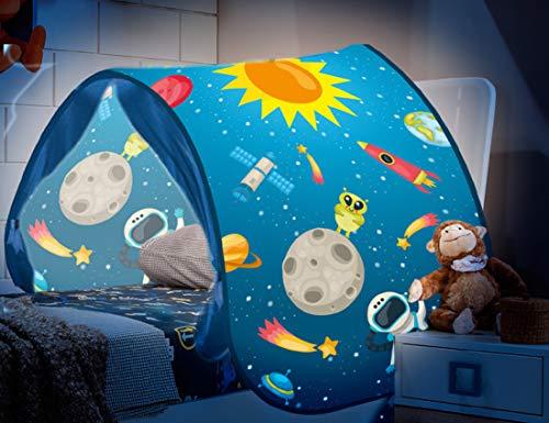 Dynamic24 Magic Dreams Universum Weltall Pop Up Tunnel Zelt Spieltunnel Höhle für Hochbett Kinderbett Bogen Bettzelt Bettdach blau