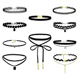 Eigso 10Pcs Women Velvet Ribbon Necklace Gothic Tattoo Lace Choker Henna Elastic Choker Set with Extender Chain
