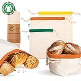Vatum Brotbeutel 3er Set aus Bio Baumwolle (GOTS) - Obst- und Gemüsebeutel für Zero Waste inkl. E-Book - umweltfreundlicher Brotsack mit Kordelzug -...