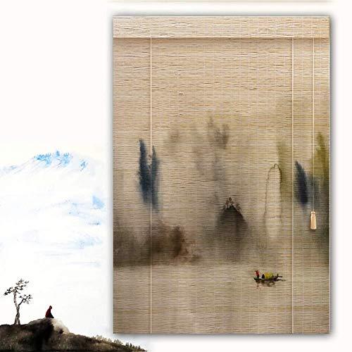 Bamboe Rolgordijn Rolgordijn Bamboe Rolgordijn Rolgordijnen Rolgordijnen Houten Rolgordijn - Kleine Boot Rietvenster Met Trekkoord Verticaal Raam 60/80/90/100/120cm Breed  (Maat: 90X200CM)