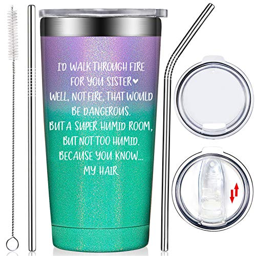 Fufendio Sister Gifts from Sister - Like Sisters in Law Funny Christmas Valentines Secret Birthday Gifts for Soul Little Big Sister, Women, Best Friend from Brother - Tumbler Cup with Straw