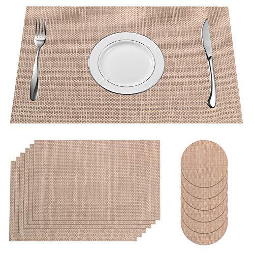 SUPERSUN 6er Set Schönes Tischset, Platzset Abwischbar Tisch Platzdeckchen Abgrifffeste Hitzebeständig for Küche, Zuhause, Restaurant, Speisetisch, 45x30cm