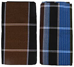 HTC Saree Mens Cotton Lungi (Brown and Blue, Free Size)