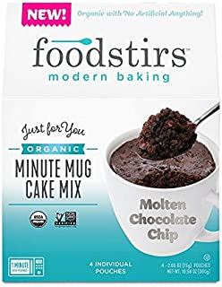 Foodstirs Organic, Non GMO Minute Mug Cake Mix Chocolate Molten Cake, 2.65 Ounce (Pack of 4)