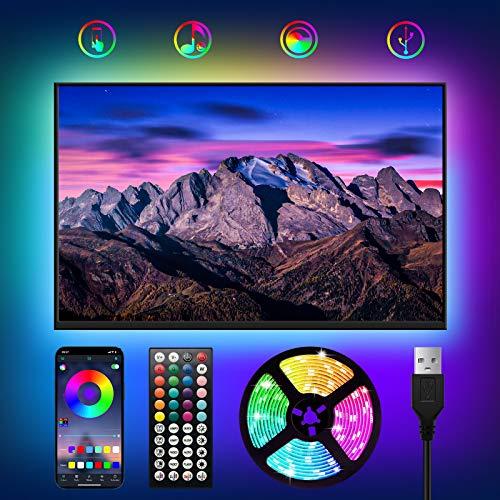 WOANWAY LED TV Retroilluminazione 3M,Striscia LED RGB USB con Telecomando e APP,Striscia LED Musicale 8 Modalità 16 Milioni Colori DIY per HD TV da 40-60 Pollici,PC Monitor 5V,2A