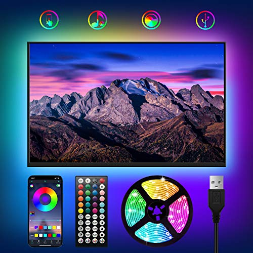 USB Tiras LED TV 3M,WOANWAY RGB Luces LED para TV con 16 Millones Colores,Bluetooth LED Tiras con Música Modo/Control de Voz y App/44 Teclas Control Remoto,LED Television para 40-60in HDTV/PC