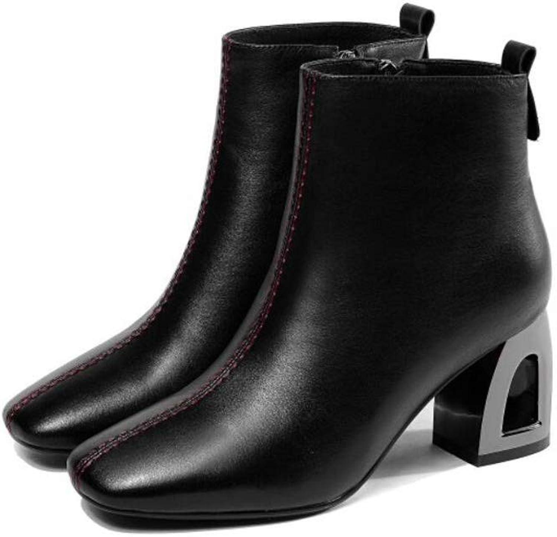 Zxcer Stiefelies Herbst und Winter Damen Weinrot seitlichem Reiverschluss dick mit quadratischen Kopf Stiefel High Heels Kurze Rhre Damenschuhe