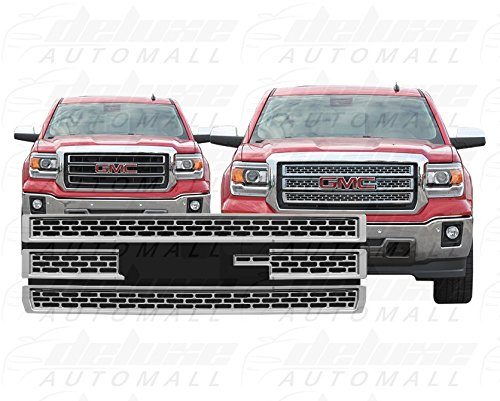 DeluxeAuto Chrome Grille Overlay (4 Pieces Kit) is Compatible with 2014 2015 GMC Sierra 1500 (Base, SLT, SLE)